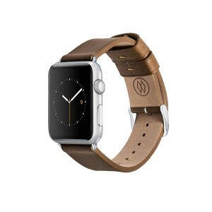 Monowear Leather Band For Apple Watch – Brown, Silver 42 – 44 mm