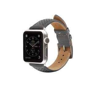 Monowear Gray Perforated Leather Band with Classic clasp – Silver Matte Adapter 42/44 mm