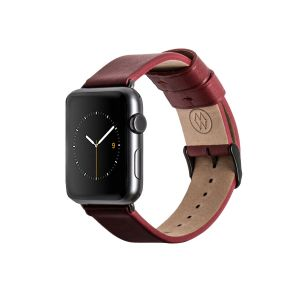 Monowear Red Leather Band for Apple Watch - Dark Gray Matte 42/44 mm