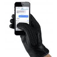 MUJJO Leather Crochet Touchscreen Gloves - Size 8 - Black