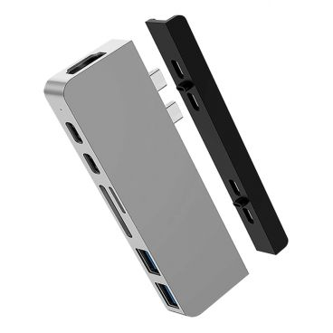 HyperDrive DUO 7-in-2 USB-C Hub for MacBook Pro / Air, Silver